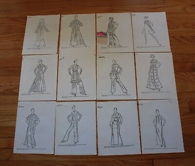 Vintage Fashion Drawing Copies Lot of 12 1960's 1970's