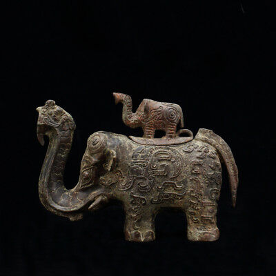 Incredible Old Rare Antique Chinese Bronze Ware Elephant Statue Sculpture Marked