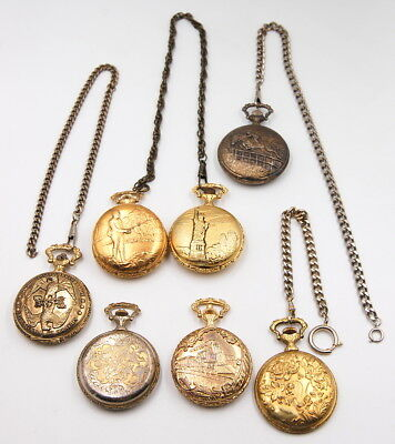 Assorted Lot Of 7 Decorative Hunter Case Pocket Watches With Fobs No Reserve