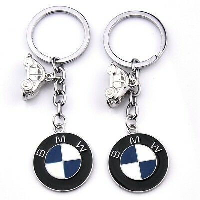 Accessory Car Metal Key Chains Double Side Pendant Holder Silver Keyring for BMW