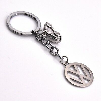 Accessory Car Metal Key Chains Double Side Pendant Holder Silver Keyring for VW
