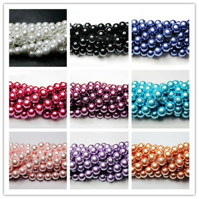 100Pcs 4/6/8/10MM Round Ball Loose Glass Pearl Spacer Beads For Jewelry Making