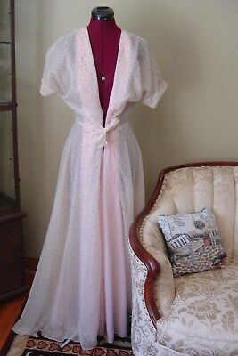 1950s Womens Vintage Robe EVELYN PEARSON SHEER HOLLYWOOD PINK CHIFFON COSTUME