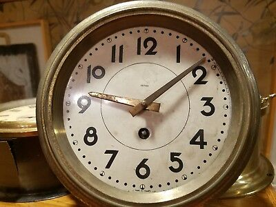 Antique 19th century French ships clock with Duverdray Bloquel triangle movement
