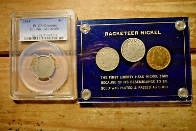 """PCGS 1885 Liberty V Nickel """" 1883 Racketeer Set  """" Total 4 Coins """""""