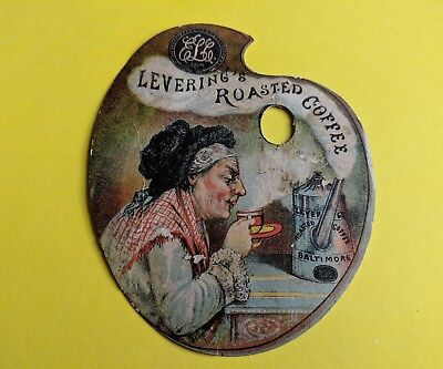 Die-Cut Victorian Trading card. Levering's Roasted Coffee, Baltimore.