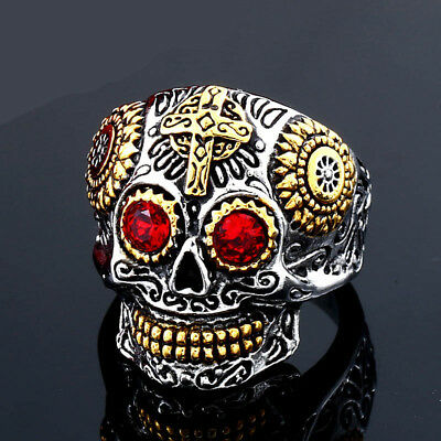 Men's Stainless Steel Rings Gothic Carved Cross Skull Titanium Steel Ring Gift