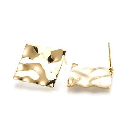 10pcs Gold Plated Brass Rhombus Earring Posts Bumpy Stud Findings Back Loop 25mm