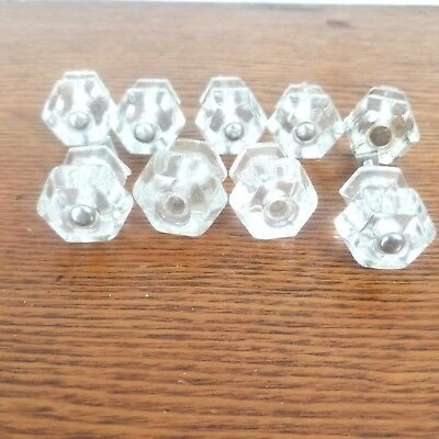 Lot Of 9 Antique Vintage Glass 6 Point Drawer Cabinet Pulls Knob Handles Clear