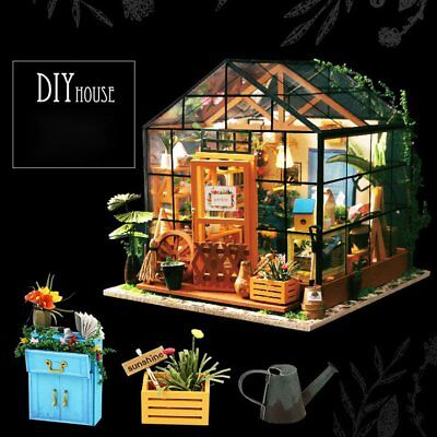 Miniature Doll House Wooden Dollhouse Miniature 3D Garden Puzzle Toy DIY Kits b+