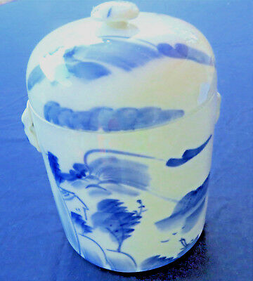 Vintage Chinese Double Lid Pot Jar in Blue White Porcelain 5x7.5 inch