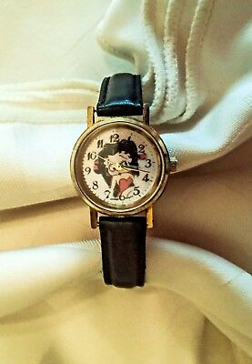 Betty Boop Authenic Round Face Analog Black Leather Wrist Watch Adj Buckle Band