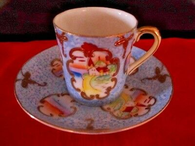 Occupied Japan Cup and Saucer Set Demitasse Gold framing Hand painted up to 4