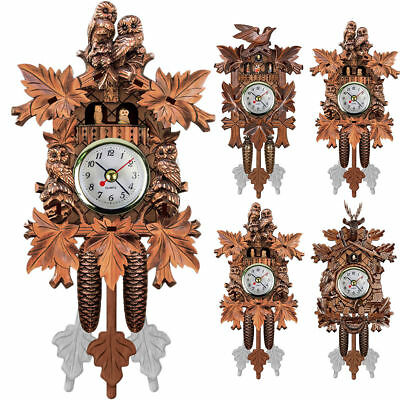 NEW Vintage Wooden Cuckoo Wall Clock Tree House Design Hanging Pendulum Weights*