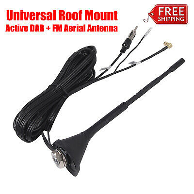 Universal Roof Mount Active Amplified DAB with FM Car Radio Aerial Antenna Mast
