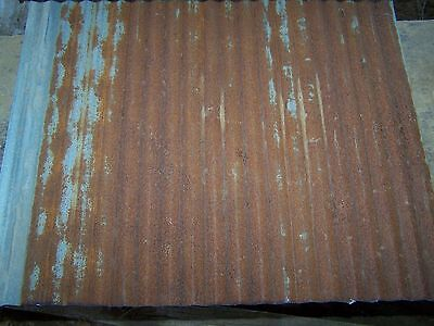 "2 pieces Vintage Metal CORRUGATED TIN 26"" x 21"""