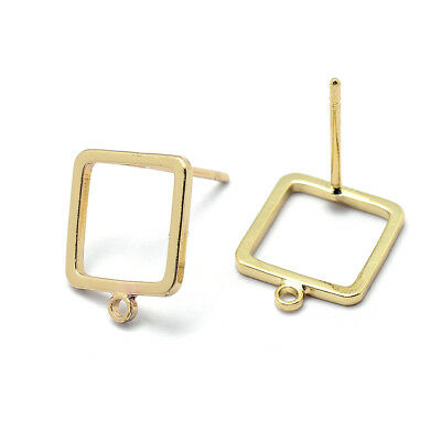 10x Gold Plated Brass Hollow Square Earring Posts Stud Findings Nickel Free 12mm