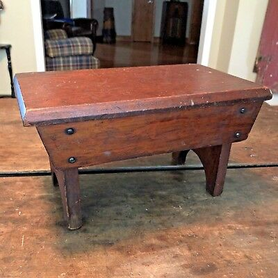 Antique Vintage Wood Wooden Foot Stool Covered Sides Furniture Small Solid Build