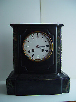 French Japy Fils Black slate & marble striking Mantel Clock