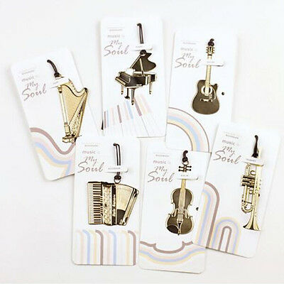 1PC  Gold Plated Musical Instrument Vintage Cute Bookmark Book Mark BDAU