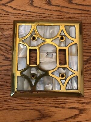 Brass Look Marble Slate Rock PATTERN Double Switch GANG OUTLET PLATE