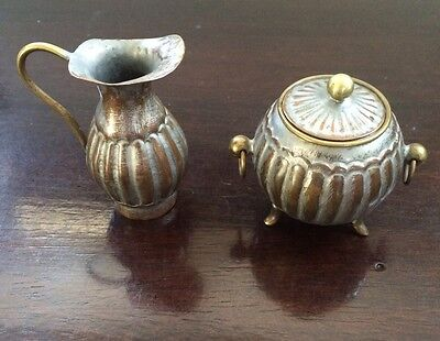 Antique Vintage Copper & Brass Pitcher & Pot w/ Lid Made in China