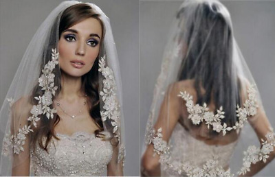 2 Layer White Champagne Lace Applique Wedding Veil Elbow Bridal Veils
