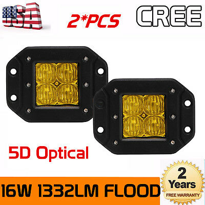 2X 16W Amber LED Work Light Flush Mount FLOOD Cube Offroad Truck SUV 5D Optical