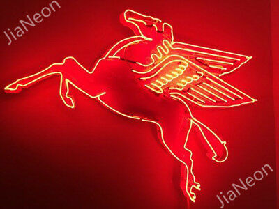 "32""X28"" Mobil Pegasus Flying Horse Gas & Oil Garage Shop Retro NEON SIGN LIGHT"