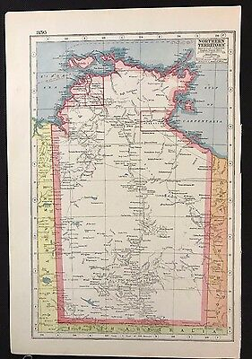 Vintage Map 1920, Northern Territory, Australia - Harmsworth's - Atlas A3BK3