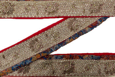 Vintage Indian Sari Border Used Trim 1 Yd Women Antique Sari Trim Ribbon ST2395