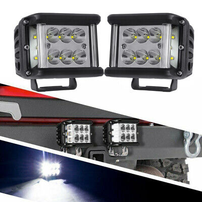 Pair 4 inch Side Shooter LED Pod 120W CREE Work Light Bar Combo Driving Offroad