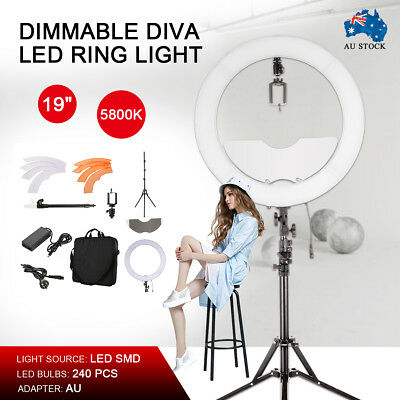 "Pro 19"" 5800K Dimmable Diva LED Ring Light Diffuser Mirror Stand Make Up Set"