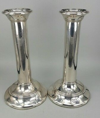 Q1907 Edwardian pair of silver cannon barrel style candlesticks fully hallmarked