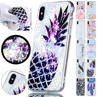 For iPhone XS Max 8 Plus XR Patterned Diamond Crystal Soft TPU Rubber Case Cover