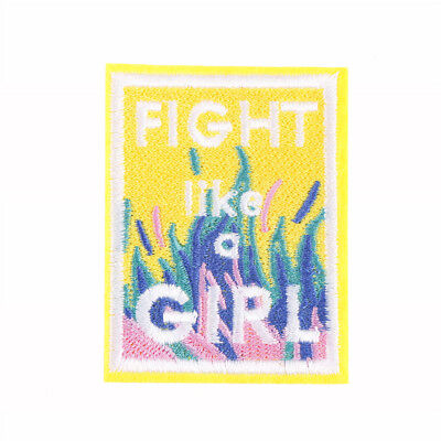 1pc fight like a girl badges patch embroidered applique sewing patches clothe BD