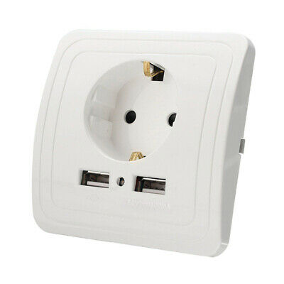 Dual USB Port Wall Charger Adapter EU Plug Socket Power Outlet Panel With LED