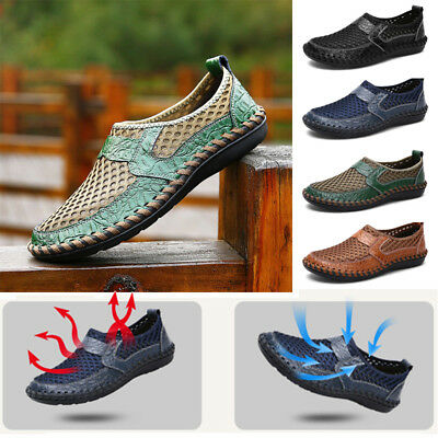 Men's Breathable Mesh Shoes Summer Slip On Loafers Casual Driving Flat Shoes
