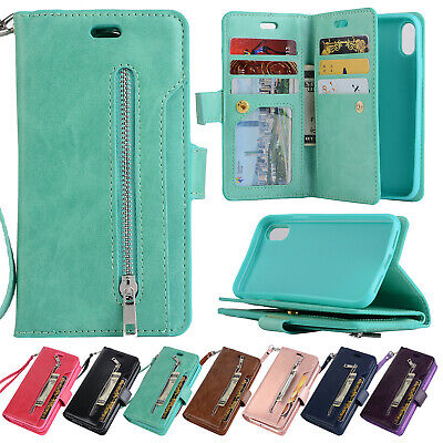 For iPhone XS Max XR X 8 7 6 Flip Card Leather Magnetic Wallet Zipper Case Cover