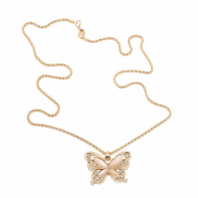 Fashion Jewelry Women Rose Gold Opal Butterfly Charm Pendant Long Chain Necklace