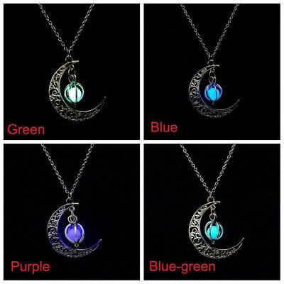 Silver Luminous Stone Necklace Moon & Pumpkin Glow In The Dark Pendant Jewelry