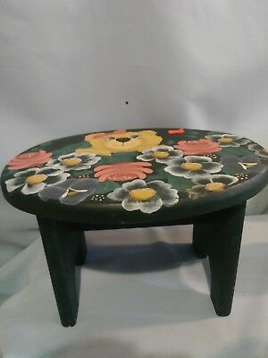 Folk Art Wood Foot Stool