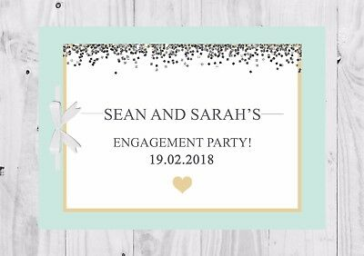 PERSONALISED Guest Book, Mint Green, Glitter, Engagement Party, Bridal Shower