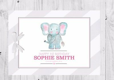 PERSONALISED Birthday Guest Book, Keep Sake, Game, Pink, Elephant, Cute, Girl