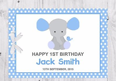 PERSONALISED Birthday Guest Book, Keep Sake, Game, Blue, Elephant, Boy
