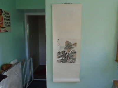 Vintage  Chinese Painting  Scroll Mountain Village  Scene