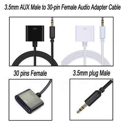 30Pins Female iPhone 4S Dock to 3.5 mm Male Audio Adapter AUX Cable 100cm