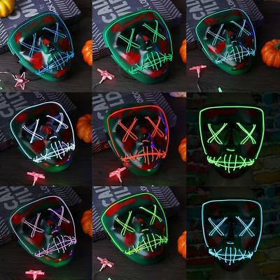 LED Máscara Light up Flash EL Wire Party Raver Scary Halloween Disfraz Cosplay