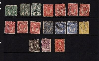 QUEENSLAND - state stamp collection values to 5d on album page