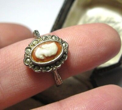 Vintage Art Deco 1930's Pretty Marcasite Cameo Coral Shell Jewellery RING P 7.5
